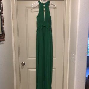 BCBG floor length kelly green gown